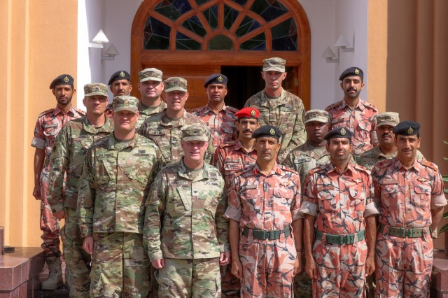 U.S. Army and Royal Army of Oman Soldiers pose for a photo following the Heavy Equipment Transporter System Subject Matter Exchange II held at Sultan bin Safy Camp Shafa Oman, April 6-11, 2019. (U.S. Army photo by Sgt. Nahjier Williams)