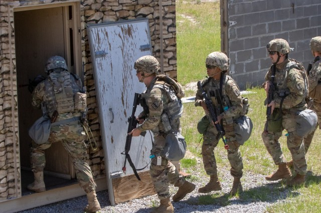 Georgia Army National Guardsmen with the Fort Stewart based, 179th Military Police Company breach and clear buildings during field training at Fort Stewart, Ga., on April 2019.  The military policemen trained on securing structures as part of additional readiness training prior to attending the National Training Center at Fort Irwin, Ca.U.S. Army photo by Sgt. 1st Class R.J. Lannom Jr.