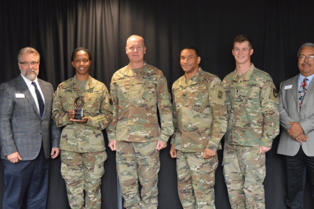 The Oklahoma Association for Technology Centers recognized industry partners, including the ADA School. From left are: Mike Ferguson, GPTC adult coordinator; Clarence Fortney, superintendent, GPTC; Sgt. Callie Johnson, executive assistant; Brig. Gen. Brian Gibson, ADA commandant; Col. Maurice Barnett, 30th ADA Brigade commander; 1st Lt. Dustin Floyd, aide de camp to Gibson; John Noel, GPTC director of Adult Career Development; and Skye McNeil, OKACTE executive director.
