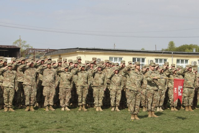 U.S. Army engineers from the 947th Engineer Company, out of Montrose, Colorado present arms during the opening ceremony of Resolute Castle 2019 at Cincu Joint National Training Center, Romania, April 24, 2019. Resolute Castle is a multinational exercise conducted to improve training infrastructure and the interoperability between NATO allies. (U.S. Army photo by Staff Sgt. True Thao)