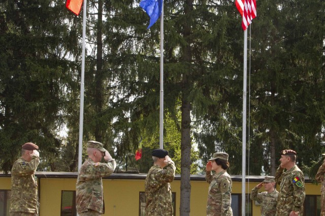 U.S. Army and Romanian leaders salute one another during the opening ceremony of Resolute Castle 2019 at Cincu Joint National Training Center, Romania, April 24, 2019. Resolute Castle is a multinational exercise conducted to improve training infrastructure and the interoperability between NATO allies. (U.S. Army photo by Staff Sgt. True Thao)
