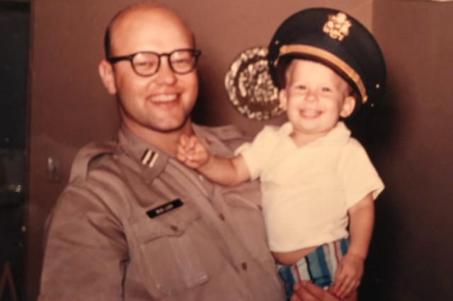 Army Capt. (Dr.) Arnold Mueller holds 2-year-old Steve Mueller. Steve Mueller was born in old-BAMC when his father was stationed at Brooke Army Medical Center in 1958.