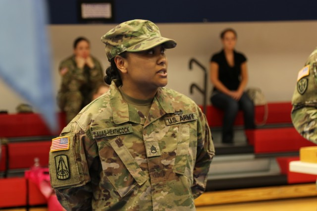 Staff Sgt. Lauas-Heathcock, 206th Military Intelligence Battalion, gives a speech prior to an uncasisng ceremony, April 15, 2019, Fort Hood, Texas. She received recognition for being awarded the Capt. John R. Teal Leadership Award. (U.S. Army photo by Sgt. Melissa N. Lessard)