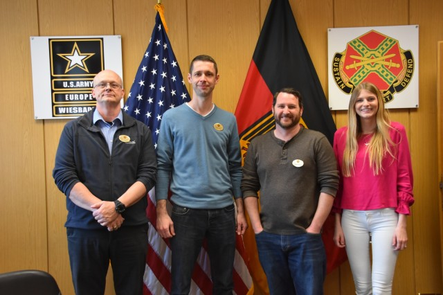 Phillip Thompson, Jonathon Palmer, James Schultz and Alexandria Kivior, who make up the USAG Wiesbaden ID Card Section team, were recently awarded the RAPIDS High Flyer Award for placing in the top 10 out of more than 400 Army sites. Thompson also noted the contributions of Brittany Lamb, who recently moved back to the states.
