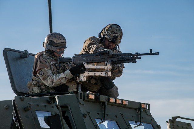 Soldiers of 1st Battalion, 14th Field Artillery Brigade, 75th Field Artillery Brigade, Fort Sill, Okla., mount their weapon system on an M142 HIMARS after having arrived to Fort Chaffee, Ark., by an Air Force C-130J Super Hercules for Operation Phantom Flight on April 12, 2019. Operation Phantom Flight is a joint service operation where both Soldier and Airmen worked alongside one another to successfully mobilize and transport Steel Warrior Battalions HIMARS from Henry Post Army Airfield, Okla., to Fort Chaffee, Ark., in order to successfully conduct an air/land raid.
