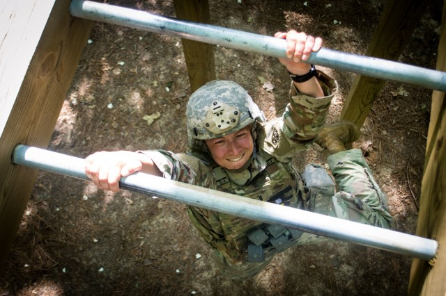 1st Lieutenant Grayson Llerandi, a paratrooper assigned to 1st Battalion, 508th Parachute Infantry Regiment, 3rd Brigade Combat Team, 82nd Airborne Division navigates an obstacle April 24, 2019 on the All American Mile during the brigade's annual Janney Cup competition.  The Janney Cup competition, held April 24 and 25 on Fort Bragg, North Carolina in honor of 1st. Lt. Richard Janney tested the physical endurance, mental grit and tactical knowledge of junior officers assigned to the brigade.