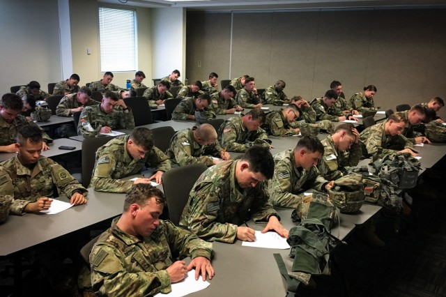 Lieutenants assigned to the 3rd Brigade Combat Team, 82nd Airborne Division answer questions on a written test, demonstrating their tactical knowledge April 24, 2019 during the brigade's annual Janney Cup competition.  The Janney Cup competition, held April 24 and 25 on Fort Bragg, North Carolina in honor of 1st. Lt. Richard Janney tested the physical endurance, mental grit and tactical knowledge of junior officers assigned to the brigade.
