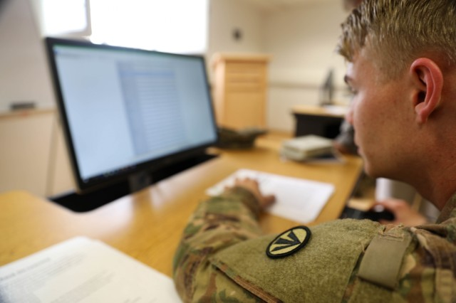Sgt. Brandon Peterson, logistician, 1181st Deployment Distribution Support Team, 598th Transportation Brigade navigates the National RF-ITV Server at the Transportation Knowledge Management Workshop at Kleber Kaserne, Kaiserslautern, Germany, April 25, 2019. The server provides real-time information on satellite tracking devices at locations worldwide.
