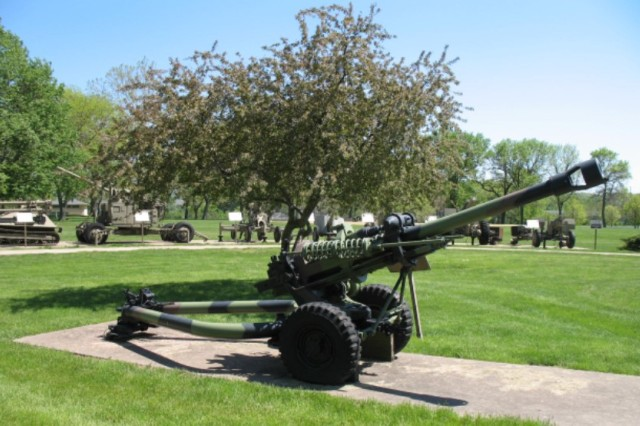 The light howitzer displayed at Memorial Field was one of 14 leased to the U.S. Army by Great Britain.
