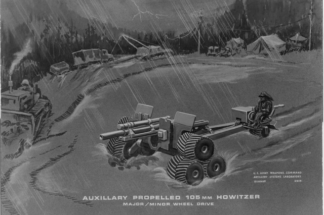 The three-wheel assembly on the M2A2 was designed to enable the howitzer to handle all types of road conditions.