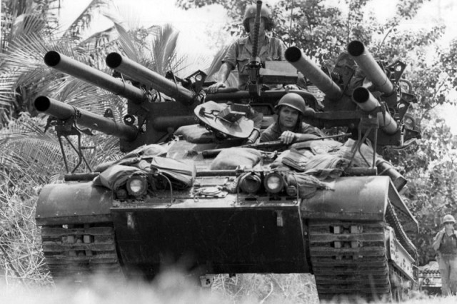 "The M50 ""Ontos"" was used by the Marine Corps during the Vietnam War, but later taken out of service due to its design flaws."