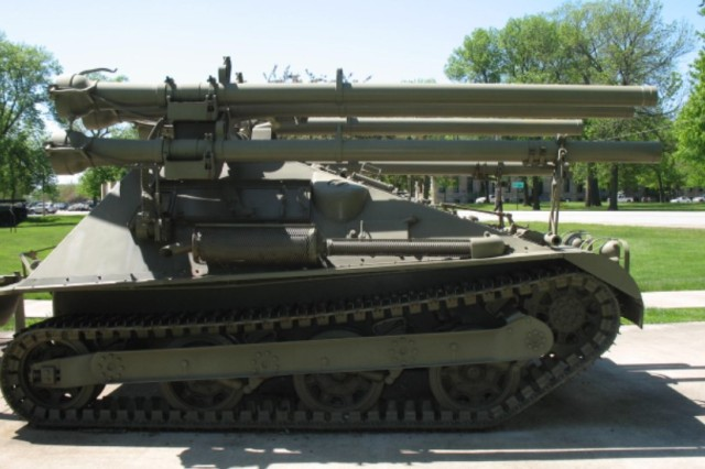 "The M50 ""Ontos on display at Memorial Field is one of 297 that were built and among the 14 known to remain today."