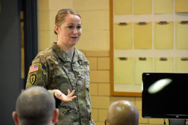 Capt. Lesley Dowdle, information operations officer, Maryland Army National Guard, speaks on her experience serving as a member of the J39, an information operations directorate in the Horn of Africa.