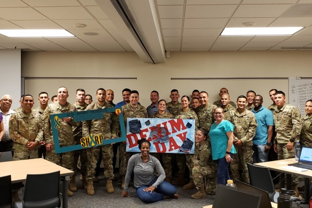 In the continuation of the command's annual campaign to aggressively raise awareness about sexual violence and educate on how to prevent sexual incidents, Soldiers assigned to U.S. Army Reserve Caribbean Geographical Command participated in several initiatives during the month of April, publically reaffirming their commitment to eliminate sexual assault from society.On April 24, many Soldiers and civilians participated of Denim Day, by wearing jeans.