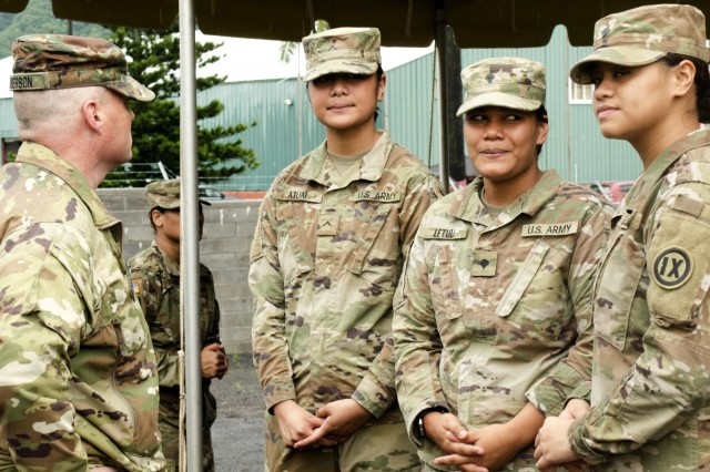 U.S. Army Brig. Gen. Douglas F. Anderson, 9th Mission Support Command Commanding General (left/front), speaks with Pvt. Lydia Atuai (left), Spc. Salamasina Letuli (center), and Spc. Mehitabelle Aiona, all mortuary affairs specialists with the 962nd Quartermaster (Mortuary Affairs) Co., 9th Mission Support Command, prior to a grand opening ceremony for the U.S. Army Reserve's new state-of-the-art Modular Small Arms Range in Pago Pago, American Samoa, April 26, 2019. The MSAR is the very first U.S. Army Reserve indoor weapons range, which allows both 5.56 mm and 9 mm rounds to be fired indoors with no chance of a round escaping regardless of the direction it is fired. It is environmentally safe preventing fumes or residue from escaping while simultaneously filtering the interior air providing a safe environment for the Soldiers inside using the range. (Photo by U.S. Army Staff Sgt. David Overson)