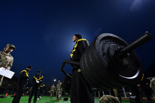 U.S. Army 1st Lt. Justice Van Ness, Lacey, Washington native, 3rd Armored Brigade Combat Team, 1st Armored Division (Rotational), performs a strength deadlift, during the Army Combat Fitness Test at the 2019 2ID Best Warrior Competition, Camp Casey, Republic of Korea, April 18. The ACFT will replace the Army Physical Fitness Test, October 2020, to indicate a Soldier's ability to perform physically and handle his or her own body weight. The best in the division will proceed onto the Eighth Army BWC, May 11.