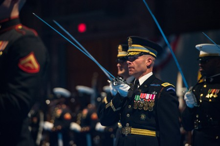 U.S. service members participate in an Armed Forces Full Honor Arrival Ceremony held in honor of Jeong Kyeong-doo, minister of the national defense, Republic of Korea at Joint Base Meyer - Henderson Hall, Arlington Va., April 2, 2019. The event was hosted by the Chairman of the Joint Chiefs of Staff U.S. Marine Corps Gen. Joseph F. Dunford.