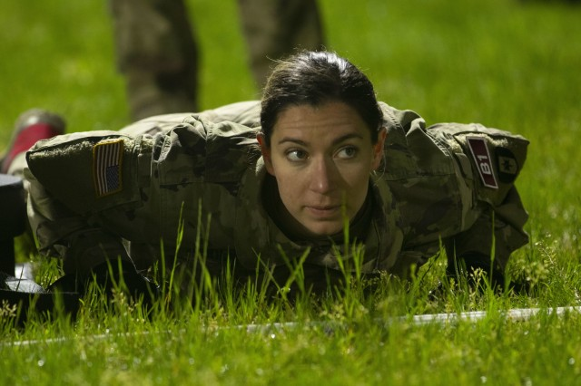 2nd Lt. Katheleen Wilson, with the 261st Multi-Functional Medical Battalion, 44th Medical Brigade waits for the start of the sprint-drag-carry event during the Army Combat Fitness Test event during the Operation Dragon Medic Strong competition at Pike Field, Fort Bragg, N.C., April 16, 2019. Wilson served as the captain of the first-place team during the Operation Dragon Medic Strong competition. (U.S. Army photo by Spc. ShaTyra Reed / 22nd Mobile Public Affairs Detachment)