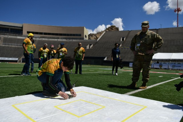 Undergraduate students from InterAmerican University of Puerto Rico prepare their unmanned aerial vehicle for a flight demonstration as part of the U.S. Army's inaugural HBCU/MI Design Competition held at the University of Texas at El Paso's Sun Bowl Stadium April 23-24, 2019. The competition, led by the U.S. Army Combat Capabilities Development Command, challenged 11 undergraduate student teams from historically black colleges and universities and other minority serving institutions (HBCUs/MIs) to develop solutions to real-world technical challenges faced by U.S. Army researchers in the area of unmanned aerial vehicles, commonly called drones.