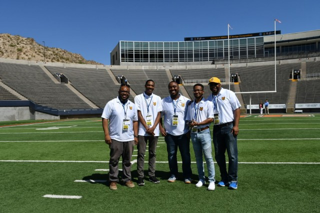 Undergraduate students from North Carolina A&T State University pose for a photo with their unmanned aerial vehicle as part of the U.S. Army's inaugural HBCU/MI Design Competition held at the University of Texas at El Paso's Sun Bowl Stadium April 23-24, 2019. The competition, led by the U.S. Army Combat Capabilities Development Command, challenged 11 undergraduate student teams from historically black colleges and universities and other minority serving institutions (HBCUs/MIs) to develop solutions to real-world technical challenges faced by U.S. Army researchers in the area of unmanned aerial vehicles, commonly called drones.