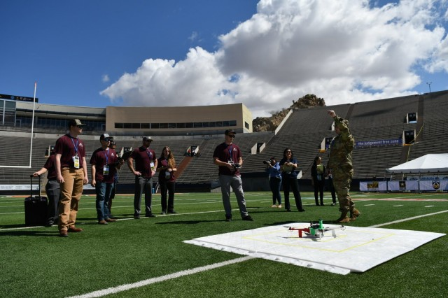 Undergraduate students from the University of Maryland Eastern Shore prepare their unmanned aerial vehicle for a flight demonstration as part of the U.S. Army's inaugural HBCU/MI Design Competition held at the University of Texas at El Paso's Sun Bowl Stadium April 23-24, 2019. The competition, led by the U.S. Army Combat Capabilities Development Command, challenged 11 undergraduate student teams from historically black colleges and universities and other minority serving institutions (HBCUs/MIs) to develop solutions to real-world technical challenges faced by U.S. Army researchers in the area of unmanned aerial vehicles, commonly called drones.