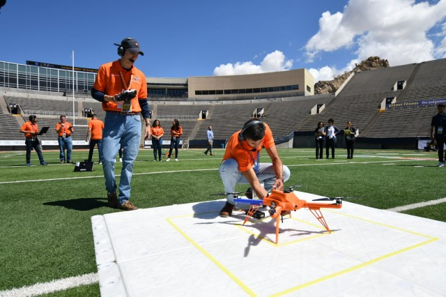 Undergraduate students from the University of Texas at El Paso prepare their unmanned aerial vehicle for a flight demonstration as part of the U.S. Army's inaugural HBCU/MI Design Competition held at the UTEP Sun Bowl Stadium April 23-24, 2019.The competition, led by the U.S. Army Combat Capabilities Development Command, challenged 11 undergraduate student teams from historically black colleges and universities and other minority serving institutions (HBCUs/MIs) to develop solutions to real-world technical challenges faced by U.S. Army researchers in the area of unmanned aerial vehicles, commonly called drones.