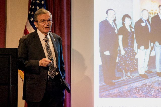 Dr. Errol Alden speaks at the Caring for the Military Child Symposium at Madigan Army Medical Center on Apr. 18. Alden was the chief of Pediatrics at Madigan in 1979 when Army Medicine established developmental-behavioral pediatrics and a fellowship program was started.