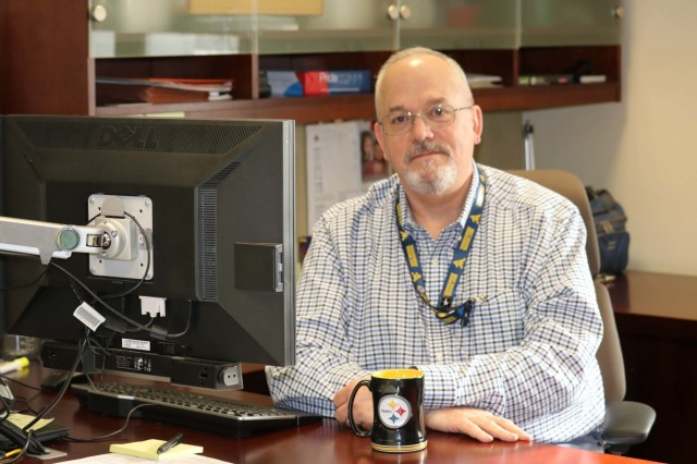 Frank Hughes is a Human Resources Specialist with the U.S. Army Chemical Materials Activity at Aberdeen Proving Ground, Maryland. He is a retired Army first sergeant and has been in civil service for more than 14 years. (U.S. Army photo by Bethani Crouch/Releasable)