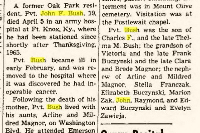 For many years no one knew exactly how Pvt. John Bush passed, which was one of two mystery's--the second was from where the glass window came--mysteries that were discussed in a 2015 Gold Standard story.                                         (www.army.mil/article/143866)