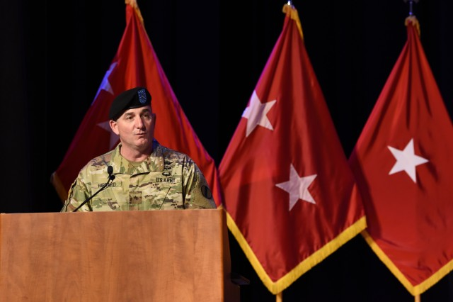Brig. Gen. Lonnie G. Hibbard, Center for Initial Military Training commander, speaks to the audience during the Center for Initial Military Training change of command ceremony at Fort Eustis, Virginia, April 26, 2019. Hibbard now will oversee the implementation of the new Army Combat Fitness Test, scheduled for the fall of 2020. (U.S. Air Force Photo by Staff Sgt. Chandler Baker)