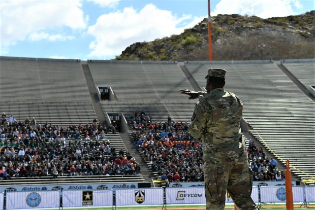 Maj. Gen. Cedric Wins, commander of the U.S. Army Combat Capabilities Development Command, welcomes El Paso area middle and high school students to the Army's inaugural HBCU/MI Design Competition held at the University of Texas at El Paso's Sun Bowl Stadium April 23-24, 2019.The competition, led by CCDC, challenged 11 undergraduate student teams from historically black colleges and universities and other minority serving institutions (HBCUs/MIs) to develop solutions to real-world technical challenges faced by U.S. Army researchers in the area of unmanned aerial vehicles, commonly called drones.