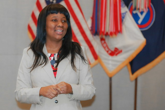 Ivy Merrick, the director for the Equal Employment Opportunity Office at U.S. Army Central, briefs the class during the Equal Employment Opportunity Counselor Course at USARCENT headquarters on Shaw Air Force Base, S.C., March 27, 2019. (U.S. Army photo by Sgt. Von Marie Donato)
