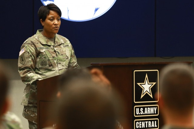 Command Sgt. Maj. Lynice D. Thorpe-Noel, a native of Nashville, North Carolina, and the first female to serve as the senior enlisted advisor for U.S. Army Human Resources Command, shares her remarks as the guest speaker during the Women's History Month observance ceremony at U.S. Army Central headquarters on Shaw Air Force Base, S.C., March 13, 2019. The ceremony recognized the contributions of female Soldiers who have answered the call to serve their nation. (U.S. Army photo by Sgt. Von Marie Donato)