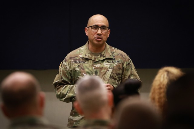 Sgt. Maj. Roger Rendon, the chief of human resources, U.S. Army Central, provides the closing remarks during the Women's History Month observance ceremony at USARCENT headquarters on Shaw Air Force Base, S.C., March 13, 2019. (U.S. Army photo by Sgt. Von Marie Donato)