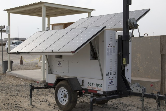 A Solar Light Tower harnesses the power of sunlight and wind throughout the day to power a streetlight at night at Camp Arifjan, Kuwait, Oct. 23, 2018. Towers like this one all over Camp Arifjan provide service members with ample lighting at night to walk, exercise, or work safely at any hour, while utilizing renewable energy. (U.S. Army photo by Sgt. Adam Parent)