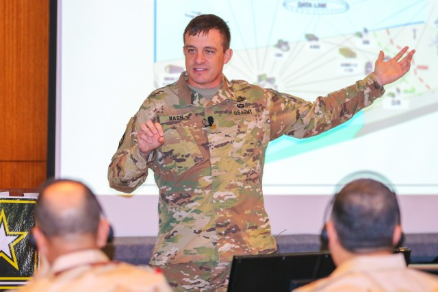 Maj. Raub Nash, deputy commander, 4th Battlefield Coordination Detachment, informs the audience on the role of the 4th BCD and U.S. Army Central as it relates to airspace control and artillery operations at the Regional Artillery Symposium in Nashville, Tenn., Aug. 7, 2018. The 4th BCD is a subordinate unit to USARCENT who operates as a liaison element between the U.S. Army and the U.S. Air Force at Shaw Air Force Base and throughout the CENTCOM AOR. (U.S. Army photo by Sgt. Von Marie Donato)