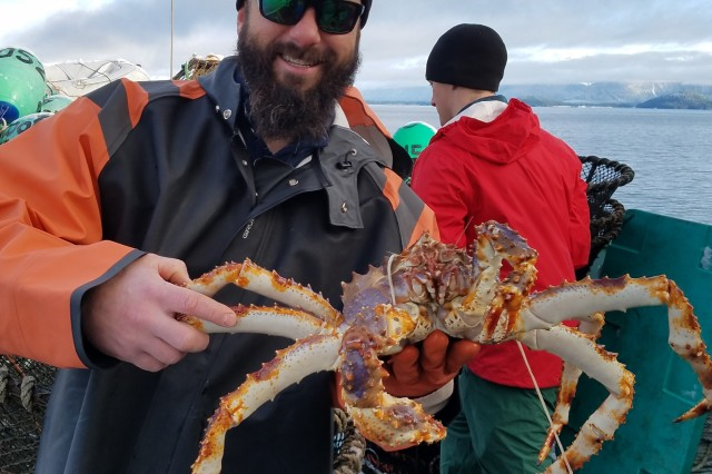 Matt Ferguson, a biologist with the U.S. Army Corps of Engineers -- Alaska District  Environmental Resources Section in the Civil Works Branch, poses with a blue king crab in Petersburg, Alaska.