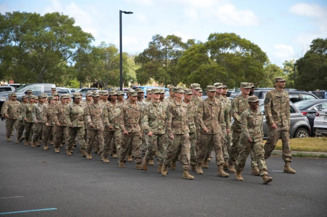 More than 60 Soldiers from the 524th Combat Sustainment Support Battalion, march up to their redeployment ceremony April 30, 2019 Schofield Barracks, Hawaii celebrating the successful completion of a 9-month combat tour in support of Operations Spartan Shield, Inherent Resolve, and Freedoms Sentinel. These Soldiers conducted area sustainment and strategic distribution in support of the 38th Sustainment Brigade, 300th Sustainment Brigade, and the 1st Theater Sustainment Command. The Soldiers provided multi-class supply, retrograde operations, liquid logistics, aerial delivery, and general sustainment support throughout the U.S. Central Command area of responsibility. (U.S. Army Photo by Sgt. Sarah D Williams)