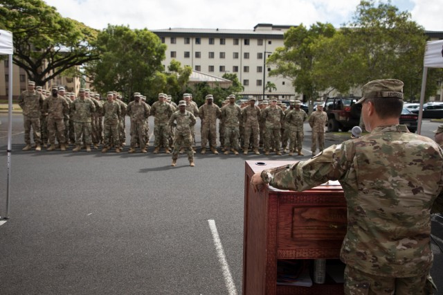 25th Sustainment Brigade Commander Col. Dennis Levesque gives a speech at the 524th Combat Sustainment Support Battalion redeployment ceremony welcoming home more than 60 Soldiers from April 30, 2019 at Schofield Barracks, Hawaii celebrating the successful completion of a 9-month combat tour in support of Operations Spartan Shield, Inherent Resolve, and Freedoms Sentinel. (U.S. Photo by Sgt. Sarah D Williams)