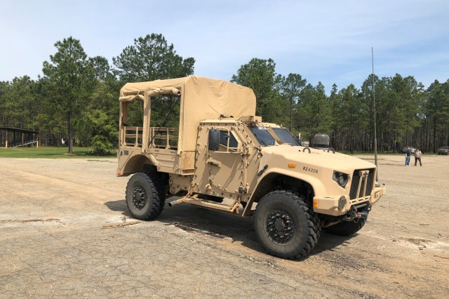 """A Joint Light Tactical Vehicle (JLTV) with the troop seat kit installed during testing at Fort Stewart, Ga. 1st Armored Brigade Combat Team, 3rd Infantry Division Soldiers spent several days testing and giving feedback on four new features to the Joint Light Tactical Vehicle (JLTV) as part of the """"Big 4"""" Soldier Touchpoint Event."""
