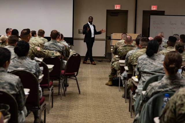 Orvie Baker, a former member of the 82nd Airborne Division, gives a briefing on leadership at the Michigan National Guard Joint Junior Leadership Conference held April 24-26, 2019, at Alpena Combat Readiness Training Center. This is the first time both Michigan Air and Army National Guardsmen, ranks E1-E6, have joined to attend a professional development event like this.