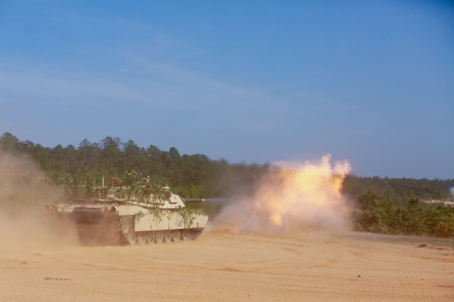 The Maneuver Center of Excellence and 316th Cavalry Brigade hosted a Scouts-in-Action live-fire demonstration, April 29, 2019 at Red Cloud Range on Fort Benning, Ga. They demonstrated the vehicle platforms and lethal capabilities that scout squads bring to the battlefield. The performed a High Mobility Multipurpose Wheeled Vehicle call for fire, a Stryker vehicle support-by-fire, a Bradley fighting vehicle and Abrams main battle tank live-fire demonstration for Soldiers, Families, competitors and international military guests.