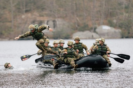 U.S. Military Academy cadets compete in Sandhurst, the world's premier international academy military skills competition, at West Point, New York, April 12, 2019. The competition strengthens relationships with our allies and partners and showcases the tenacity and grit of future leaders of the armed forces across the world.