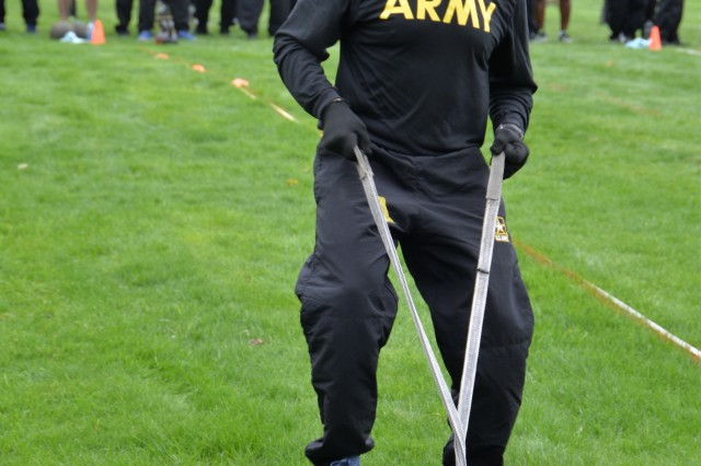 New York Army National Guard Command Sgt. Maj. David Piwowarski, the New York Army National Guard Command Sgt. Major, drags a weighted sled for 50 meters during the sprint, drag, carry event for the Army Combat Test on April 27, 2019, at the Division of Military and Naval Affairs in Latham, N.Y. Major General Ray Shields, the Adjutant General of New York, held a Commanders Call for all New York Army National Guard Brigade and Battalion commanders and command sergeants major to discuss the implementation of the ACFT across the force and to walk the commanders through the process.