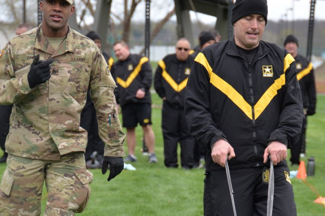 A New York Army National Guard drags a weighted sled for 50 meters during the sprint, drag, carry event for the Army Combat Test on April 27, 2019, at the Division of Military and Naval Affairs in Latham, N.Y. Major General Ray Shields, the Adjutant General of New York, held a Commanders Call for all New York Army National Guard Brigade and Battalion commanders and command sergeants major to discuss the implementation of the ACFT across the force and to walk the commanders through the process.