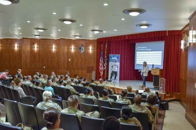 Tripler Army Medical Center recently hosted celebrity guest speakers, Flip Rodriguez (ANW) and Sarah Rice (MTV) in support of Sexual Assault Awareness Prevention Month (SAAPM), at Kyser Auditorium, April 10.