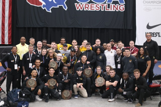 World Class Athlete Program and All-Army wrestling Soldier-athletes and staff. Photo by Brittany Nelson, IMCOM Public Affairs