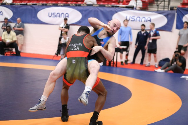Sgt. Ellis Coleman during a match. Coleman won gold in the Greco-Roman 67kg division. Photo by Brittany Nelson, IMCOM Public Affairs