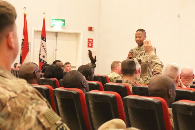Staff Sgt. Damien Montgomery, 184th Sustainment Command, asks the audience a question about vehicle safety during nontactical vehicle training at Camp Arifjan, Kuwait, April 26, 2019. (U.S. Army National Guard photo by Sgt. Connie Jones)
