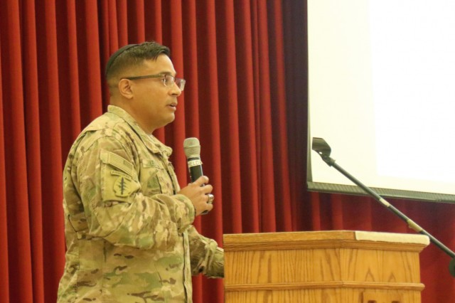 Maj. David Leiva, Headquarters Company commander, 184th Sustainment Command, speaks about vehicle safety during nontactical vehicle training at Camp Arifjan, Kuwait, April 26, 2019. (U.S. Army National Guard photo by Sgt. Connie Jones)